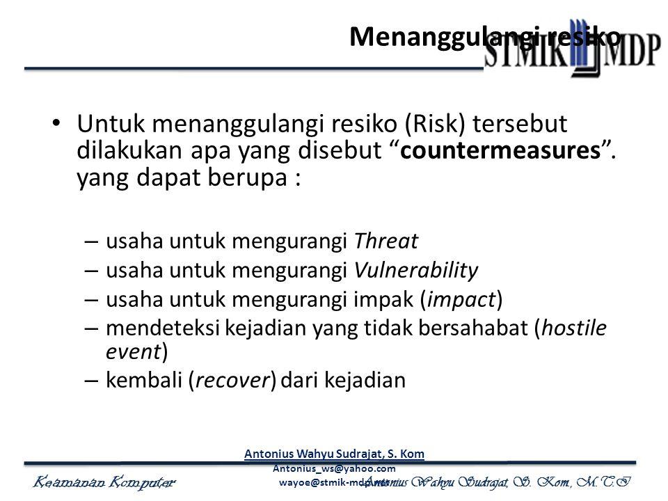 """Keamanan Komputer Antonius Wahyu Sudrajat, S. Kom., M.T.I Menanggulangi resiko Untuk menanggulangi resiko (Risk) tersebut dilakukan apa yang disebut """""""