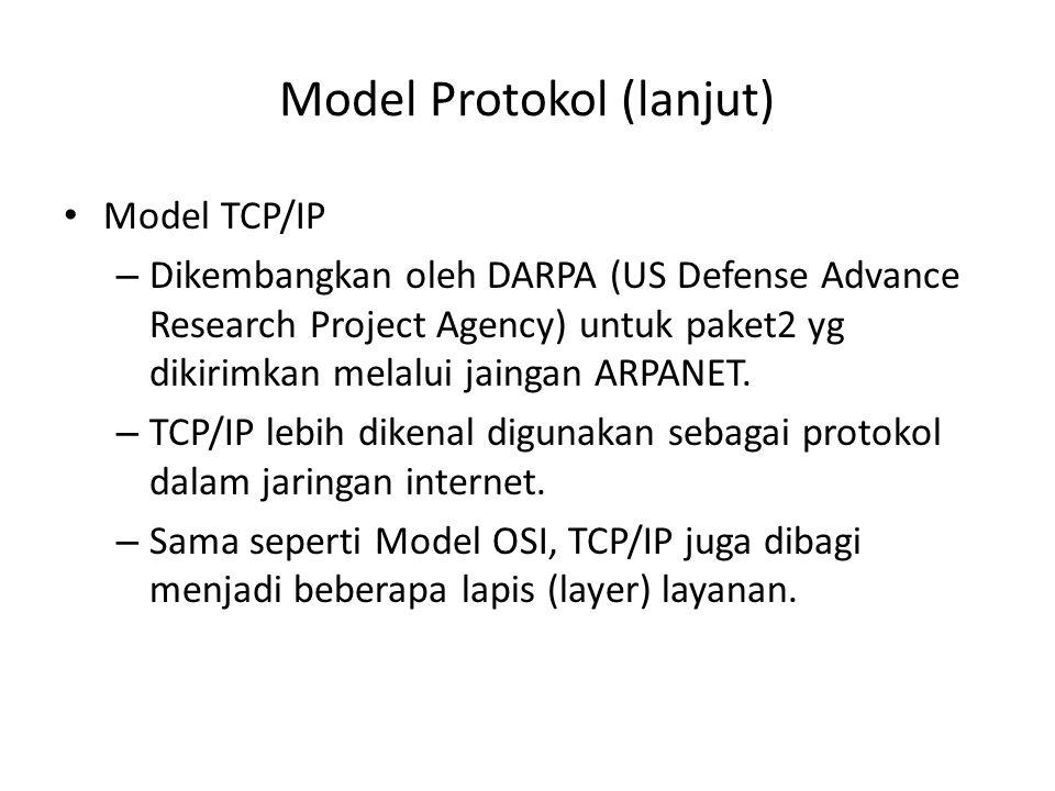 Model Protokol (lanjut) Model TCP/IP – Dikembangkan oleh DARPA (US Defense Advance Research Project Agency) untuk paket2 yg dikirimkan melalui jaingan