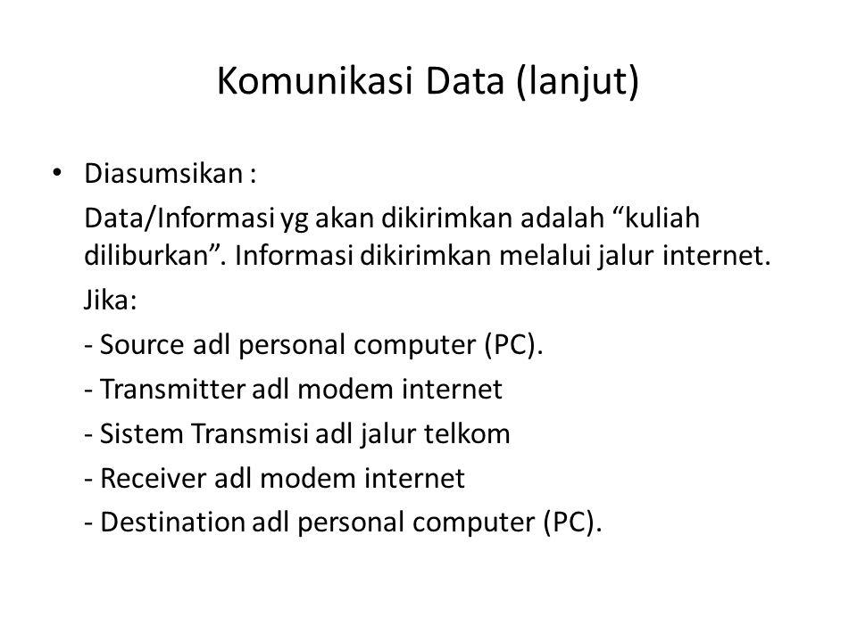 Komunikasi Data (lanjut) Maka komunikasi datanya sbb : PC pengirim (source) mengirim pesan melalui keyboard (dalam bentuk bit digital).