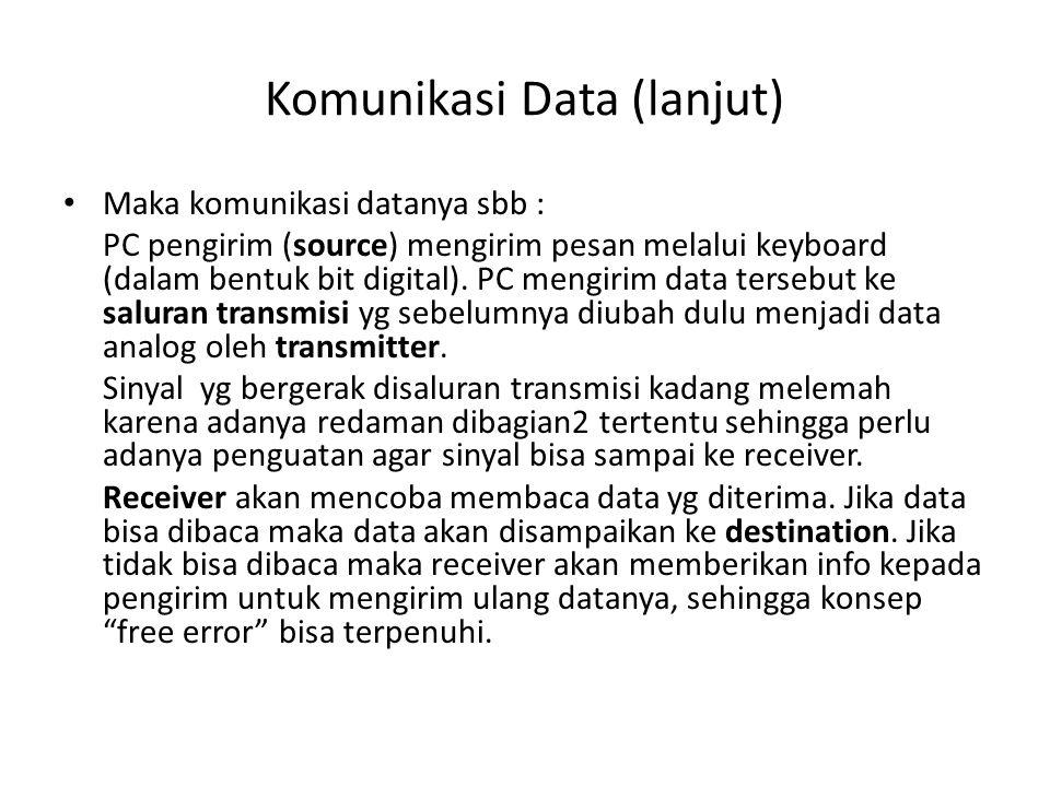 Komunikasi Data (lanjut) Maka komunikasi datanya sbb : PC pengirim (source) mengirim pesan melalui keyboard (dalam bentuk bit digital). PC mengirim da