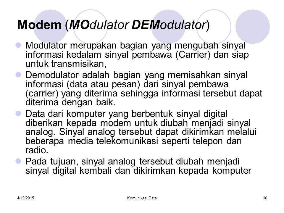 4/19/2015Komunikasi Data16 Modem (MOdulator DEModulator) Modulator merupakan bagian yang mengubah sinyal informasi kedalam sinyal pembawa (Carrier) da