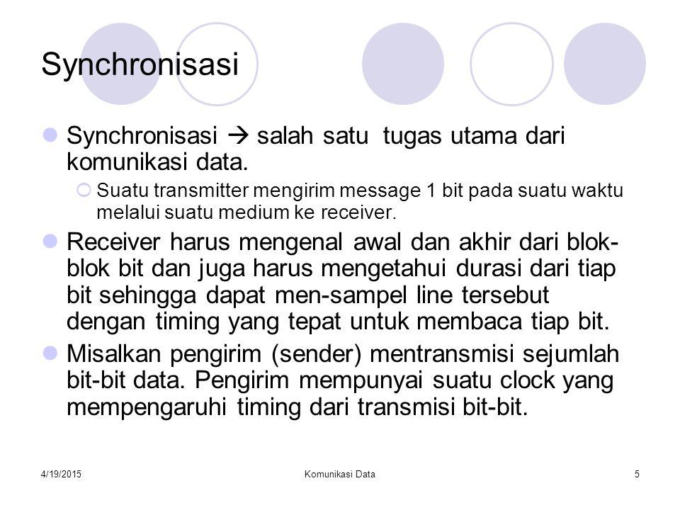 4/19/2015Komunikasi Data5 Synchronisasi Synchronisasi  salah satu tugas utama dari komunikasi data.  Suatu transmitter mengirim message 1 bit pada s