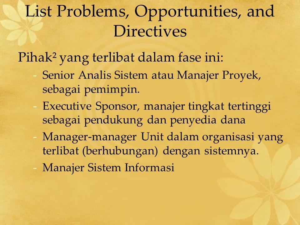 Setiap Problems, Opportunities, dan Directives dikaji berdasarkan: 1.Tingkat kebutuhan (Urgency) Kapan permasalahan harus dipecahkan.