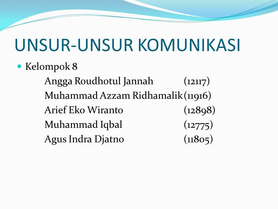 UNSUR-UNSUR KOMUNIKASI Kelompok 8 Angga Roudhotul Jannah(12117) Muhammad Azzam Ridhamalik(11916) Arief Eko Wiranto(12898) Muhammad Iqbal(12775) Agus I