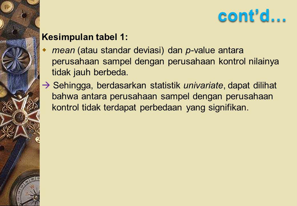 cont'd… Kesimpulan tabel 1:  mean (atau standar deviasi) dan p-value antara perusahaan sampel dengan perusahaan kontrol nilainya tidak jauh berbeda.