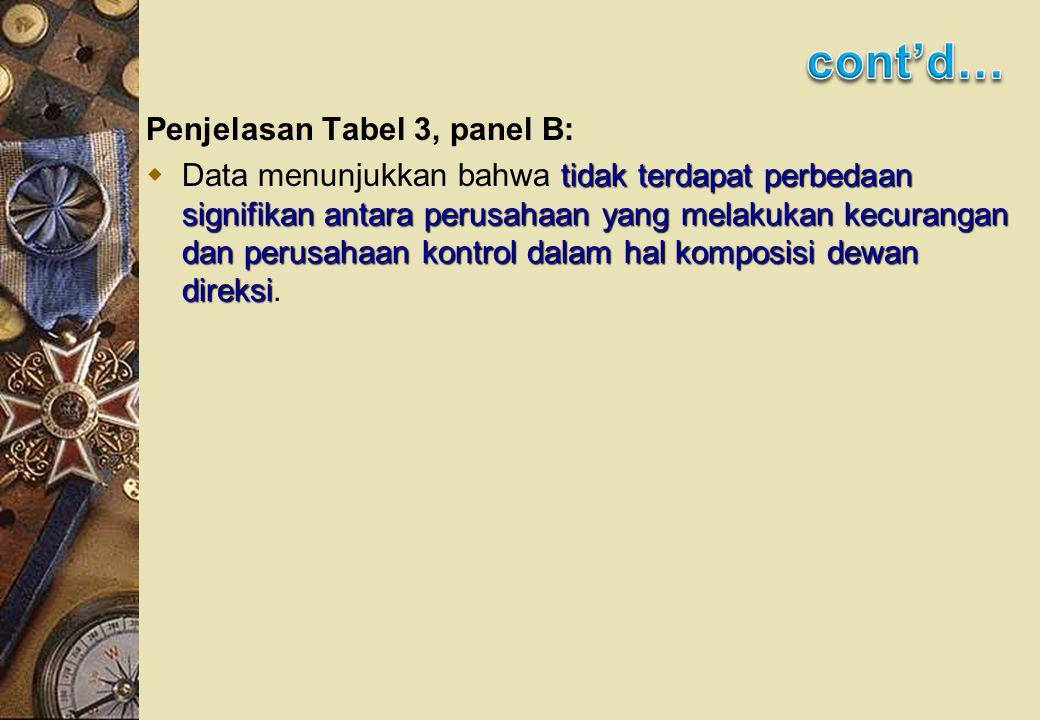 Penjelasan Tabel 3, panel B: tidak terdapat perbedaan signifikan antara perusahaan yang melakukan kecurangan dan perusahaan kontrol dalam hal komposisi dewan direksi  Data menunjukkan bahwa tidak terdapat perbedaan signifikan antara perusahaan yang melakukan kecurangan dan perusahaan kontrol dalam hal komposisi dewan direksi.