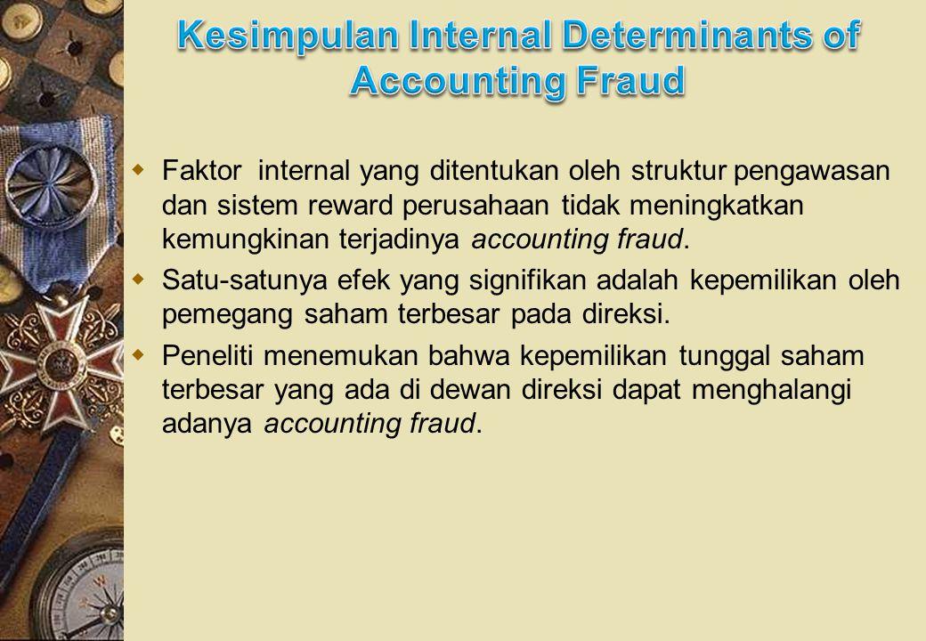  Faktor internal yang ditentukan oleh struktur pengawasan dan sistem reward perusahaan tidak meningkatkan kemungkinan terjadinya accounting fraud.
