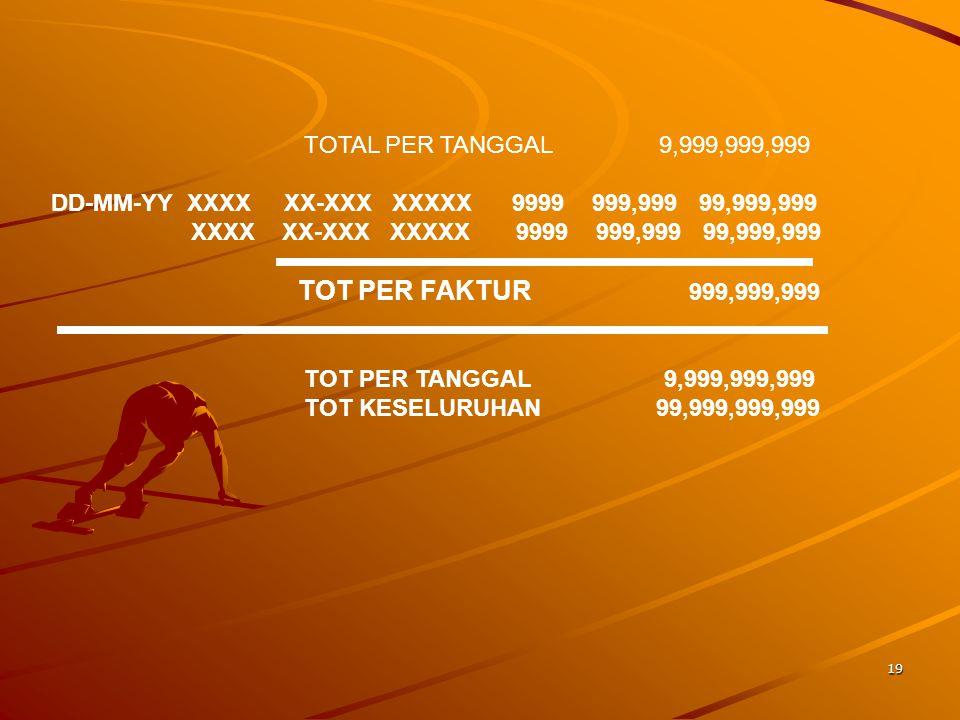 19 TOTAL PER TANGGAL 9,999,999,999 DD-MM-YY XXXX XX-XXX XXXXX 9999 999,999 99,999,999 XXXX XX-XXX XXXXX 9999 999,999 99,999,999 TOT PER FAKTUR 999,999,999 TOT PER TANGGAL 9,999,999,999 TOT KESELURUHAN 99,999,999,999