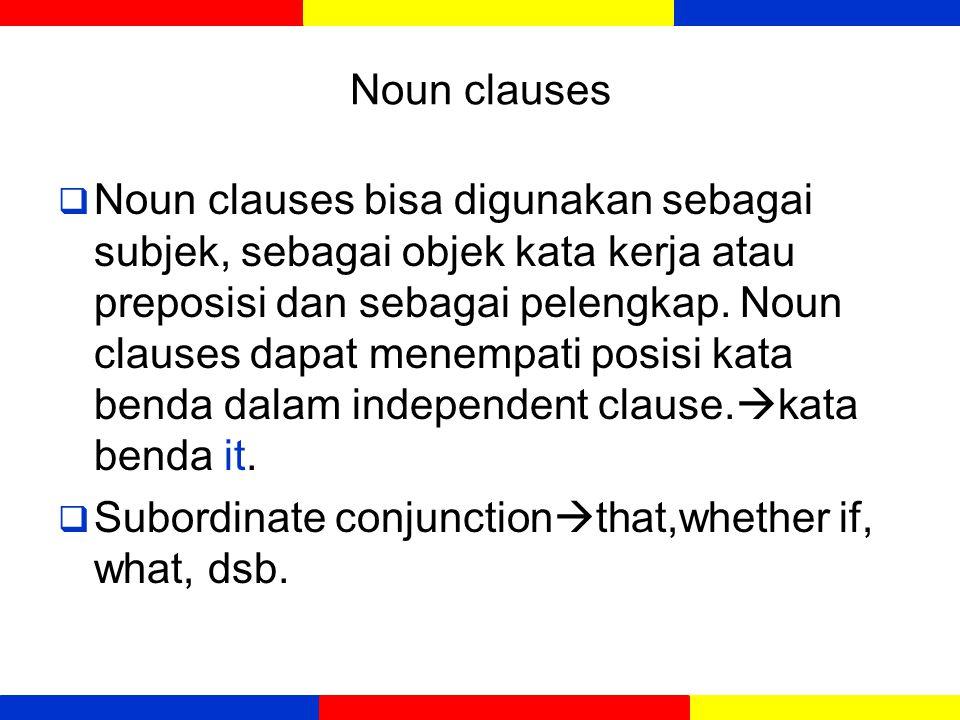Type of dependent clauses Dependent clauses yang berfungsi sebagai kata benda Noun clauses Dependent clauses yang berfungsi sebagai adjektif (sifat) or menerangkan kata benda Adjective Clauses Dependent clauses yang berfungsi sebagai adverb Adverbial Clauses