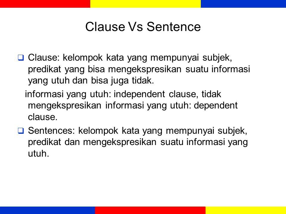 Sentences  Frank (1972) kalimat /sentences adalah:  makna: suatu pemikiran yang utuh  fungsi: terdiri dari subjek dan predikat