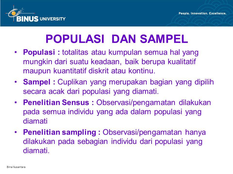 Bina Nusantara POPULASI DAN SAMPEL Populasi : totalitas atau kumpulan semua hal yang mungkin dari suatu keadaan, baik berupa kualitatif maupun kuantit