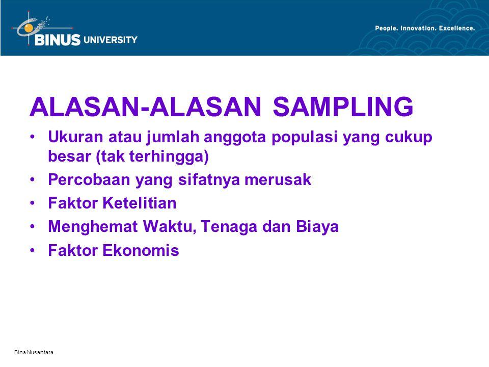 Bina Nusantara ALASAN-ALASAN SAMPLING Ukuran atau jumlah anggota populasi yang cukup besar (tak terhingga) Percobaan yang sifatnya merusak Faktor Kete