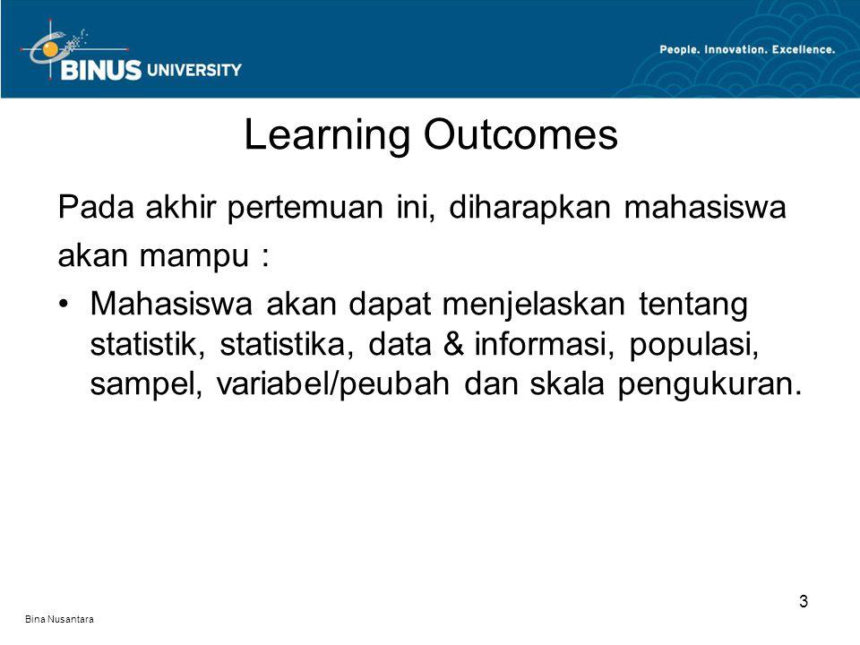 Bina Nusantara Definisi Statistik dan Statistika Statistika sebagai Sains dan Peranannya Macam Aplikasi Statistika Unsur-unsur Dasar Statistika Macam/Jenis Data Cara Pengumpulan Data Cara Penyajian Data Outline Materi 4