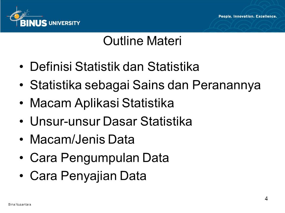 Bina Nusantara Definisi Statistik dan Statistika Statistika sebagai Sains dan Peranannya Macam Aplikasi Statistika Unsur-unsur Dasar Statistika Macam/