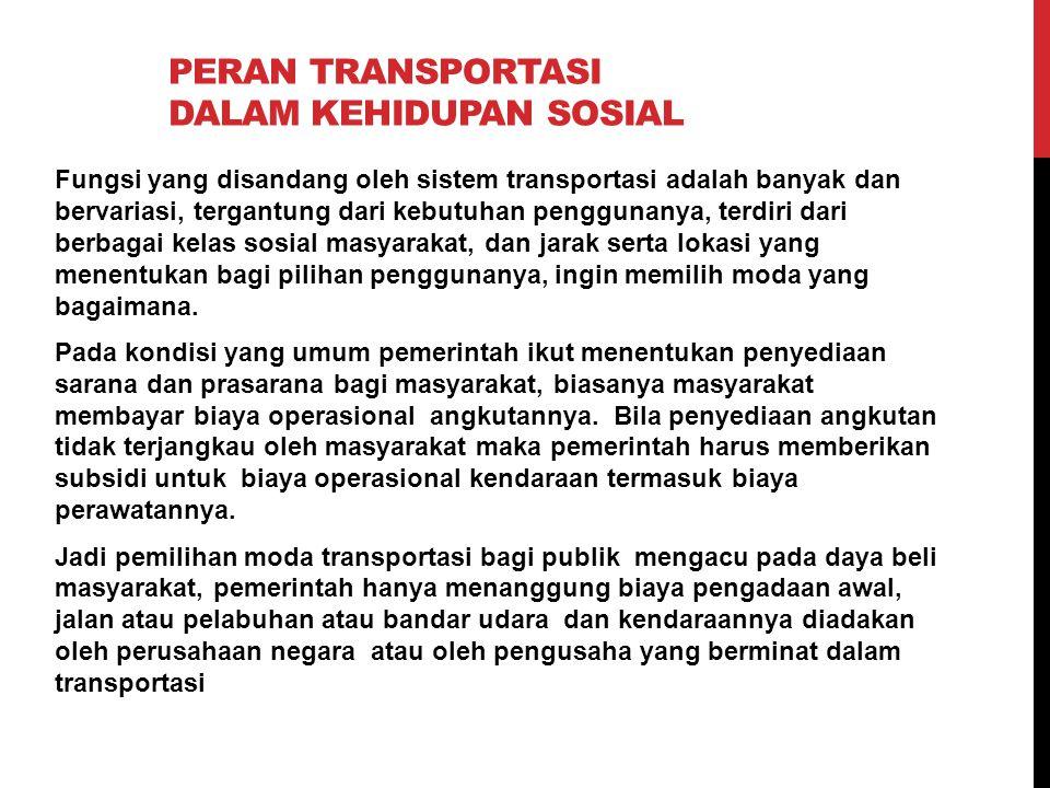 PERAN TRANSPORTASI DALAM KEHIDUPAN SOSIAL Fungsi yang disandang oleh sistem transportasi adalah banyak dan bervariasi, tergantung dari kebutuhan pengg