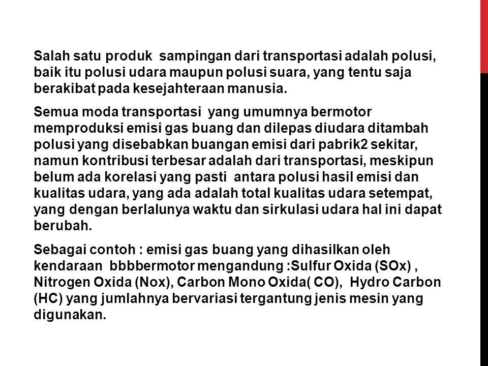 Salah satu produk sampingan dari transportasi adalah polusi, baik itu polusi udara maupun polusi suara, yang tentu saja berakibat pada kesejahteraan m