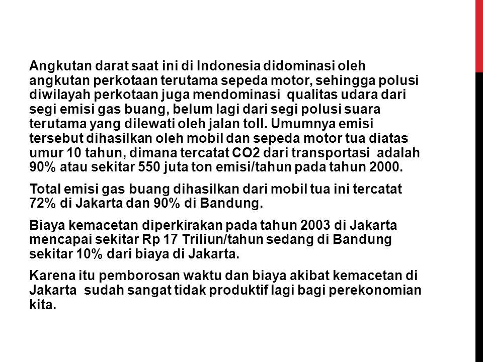 Angkutan darat saat ini di Indonesia didominasi oleh angkutan perkotaan terutama sepeda motor, sehingga polusi diwilayah perkotaan juga mendominasi qu
