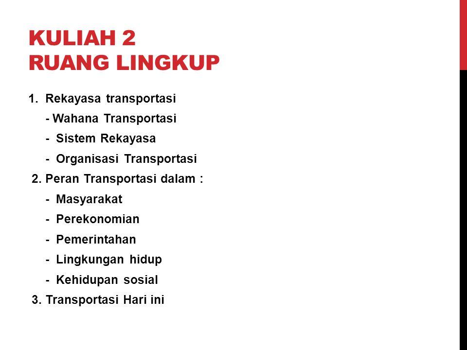 KULIAH 2 RUANG LINGKUP 1. Rekayasa transportasi - Wahana Transportasi - Sistem Rekayasa - Organisasi Transportasi 2. Peran Transportasi dalam : - Masy