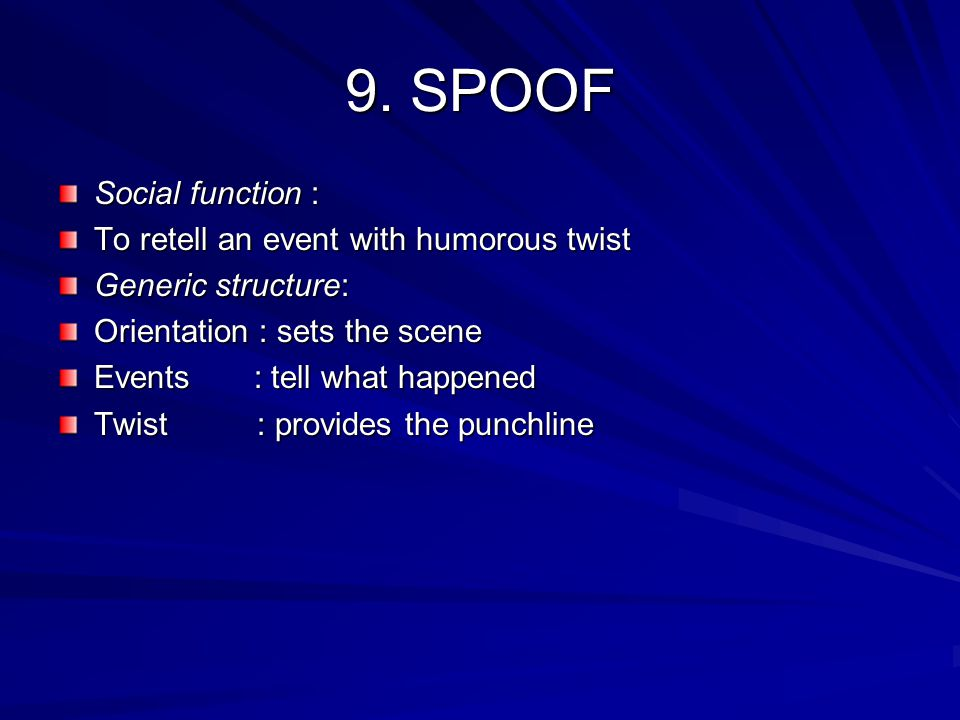 Language features of spoof Focus on person, animal, certain thing Action verb Past tense Circumstance of time and place Material process