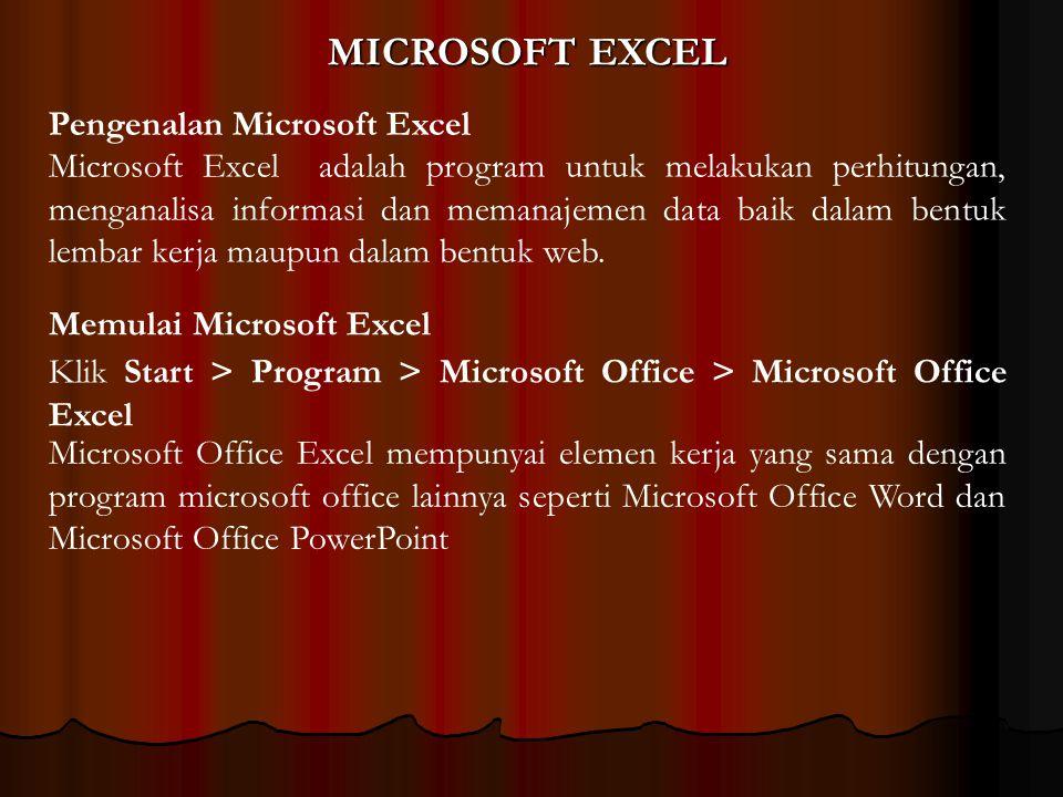 MICROSOFT EXCEL Microsoft Excel adalah program untuk melakukan perhitungan, menganalisa informasi dan memanajemen data baik dalam bentuk lembar kerja