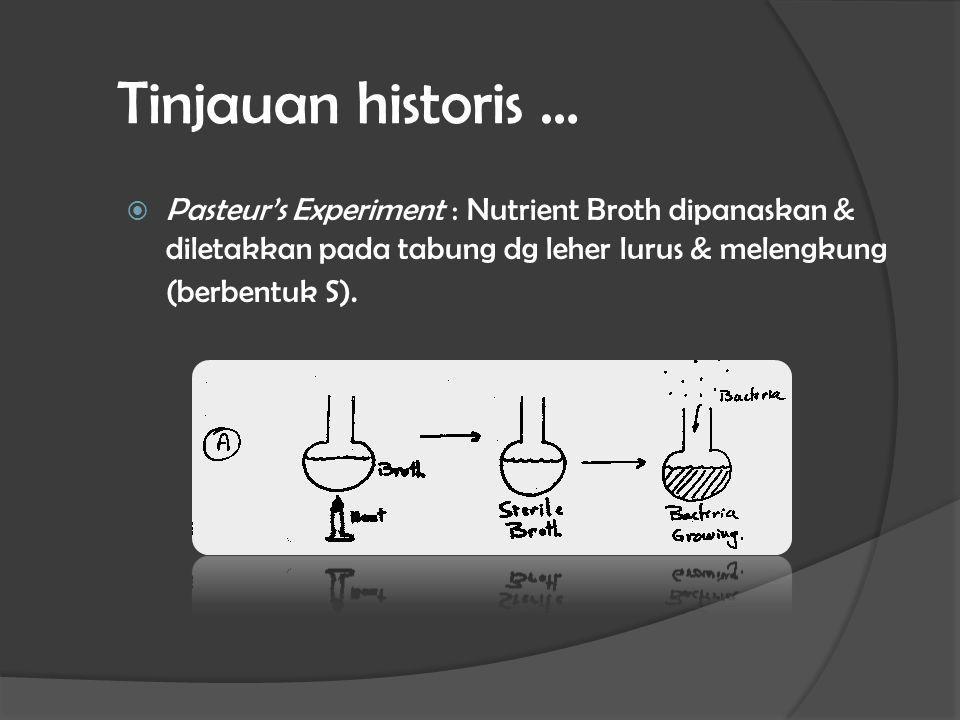 Tinjauan historis …  Pasteur's Experiment : Nutrient Broth dipanaskan & diletakkan pada tabung dg leher lurus & melengkung (berbentuk S).