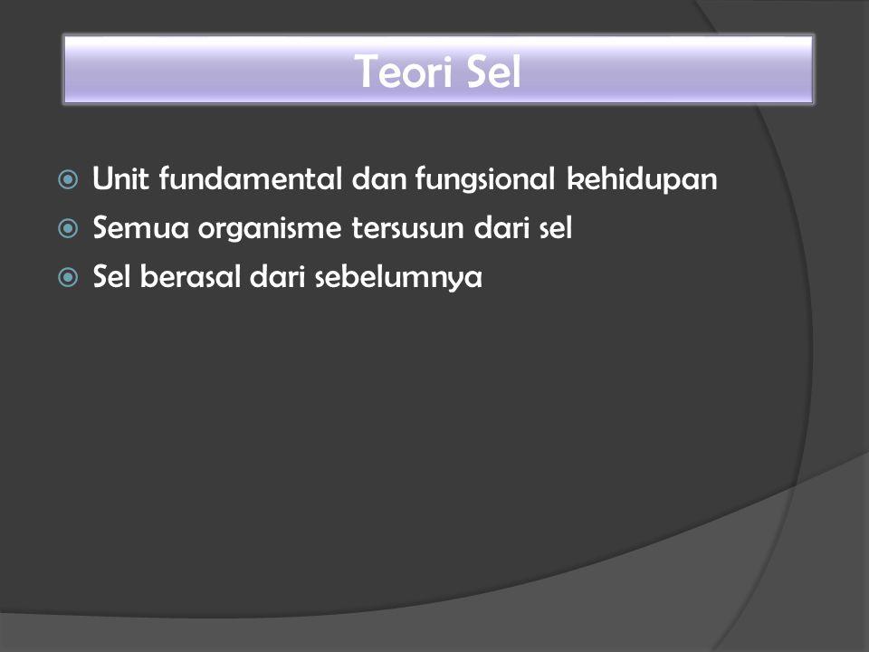  Unit fundamental dan fungsional kehidupan  Semua organisme tersusun dari sel  Sel berasal dari sebelumnya Teori Sel