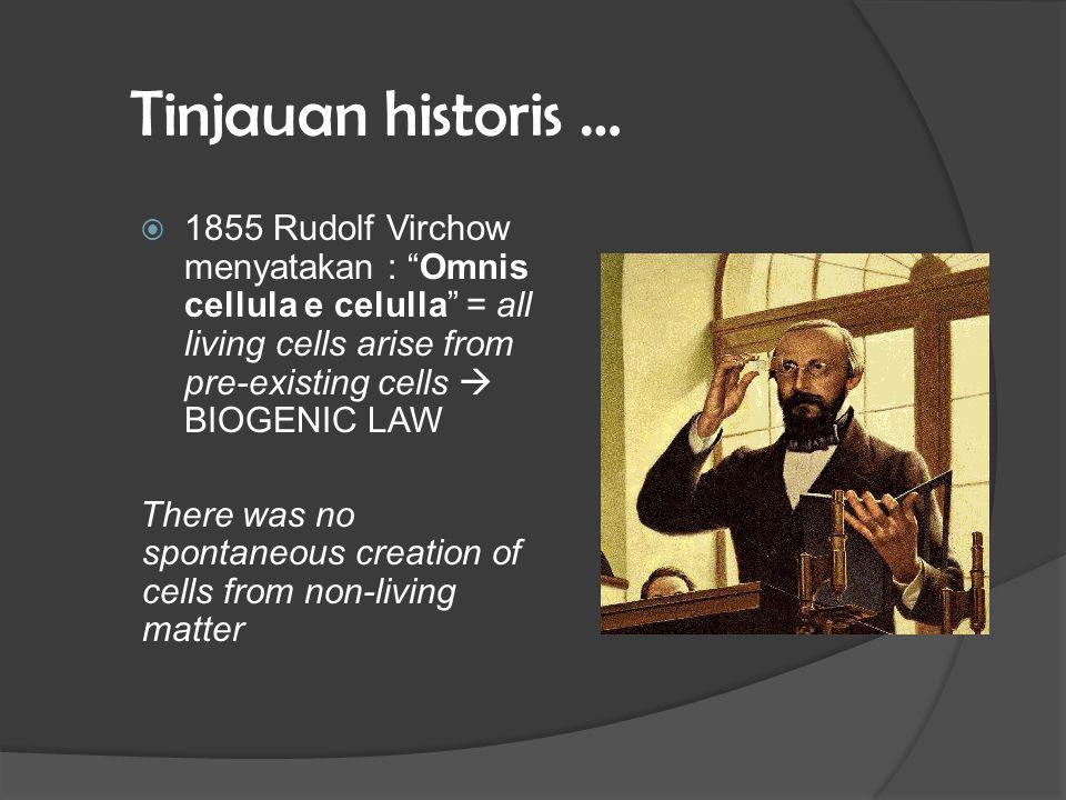 Tinjauan historis … There was no spontaneous creation of cells from non-living matter  dibuktikan oleh Louis Pasteur 1862
