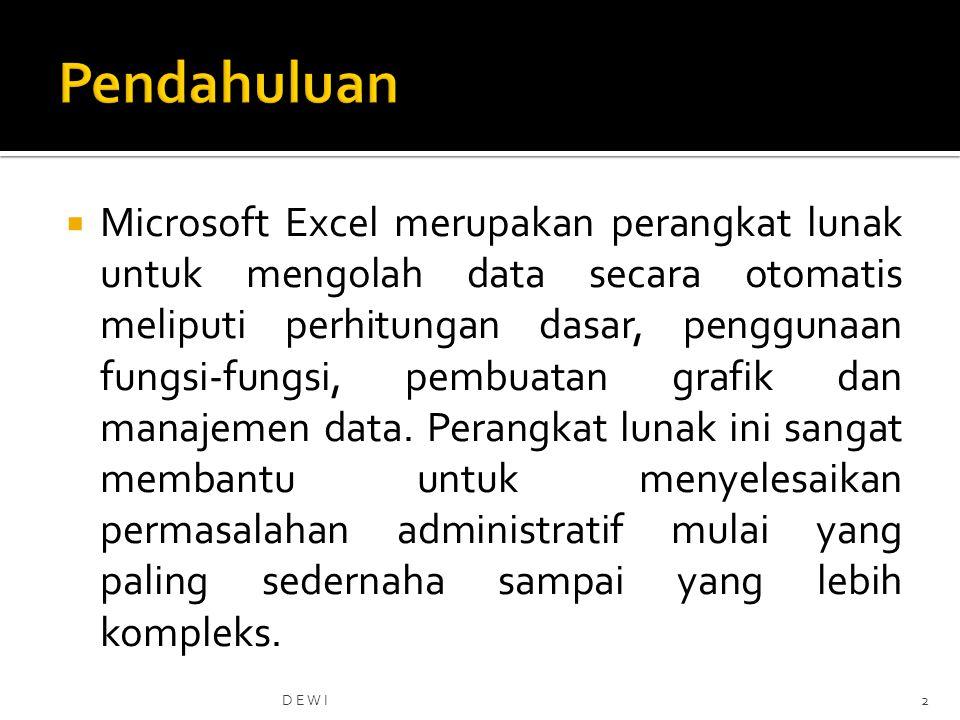  Microsoft Excel merupakan perangkat lunak untuk mengolah data secara otomatis meliputi perhitungan dasar, penggunaan fungsi-fungsi, pembuatan grafik dan manajemen data.