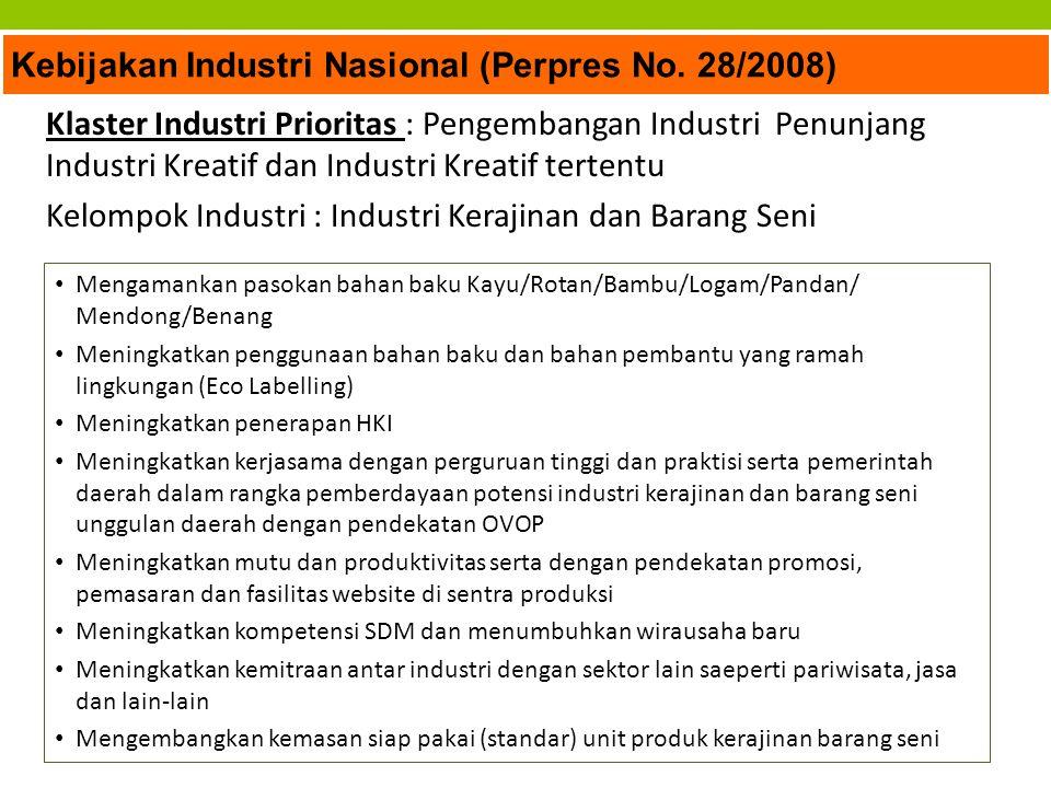 Kebijakan Industri Nasional (Perpres No. 28/2008) Klaster Industri Prioritas : Pengembangan Industri Penunjang Industri Kreatif dan Industri Kreatif t