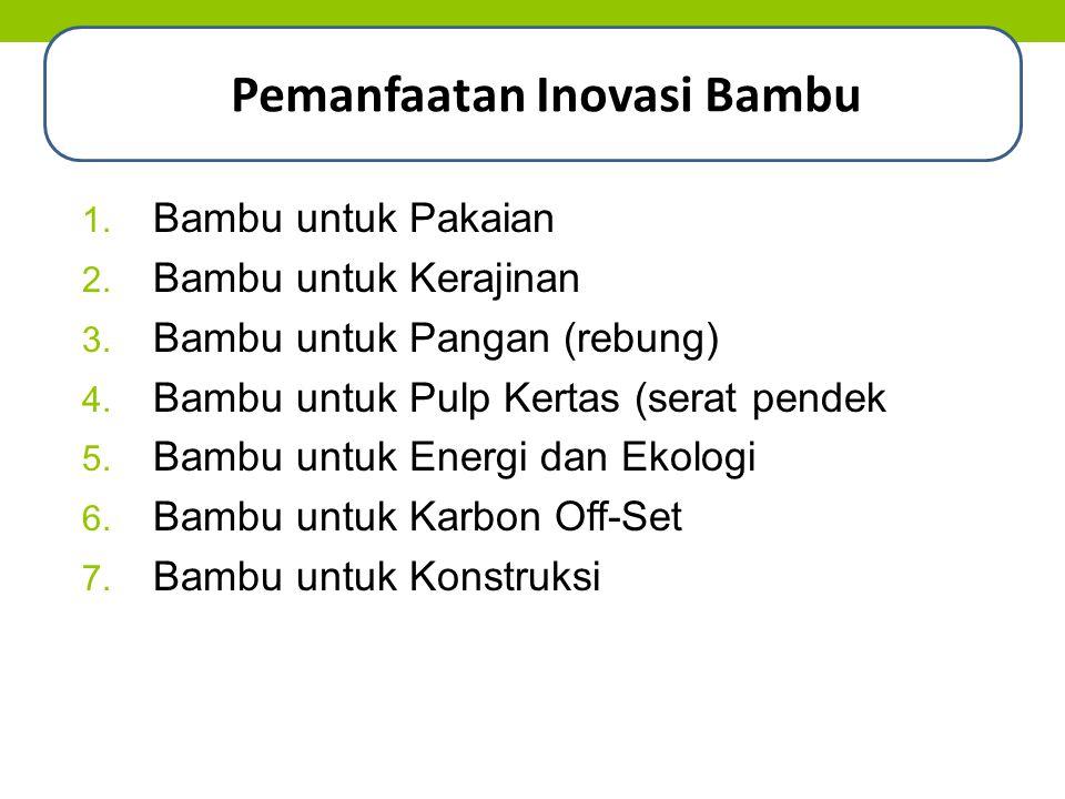 1. Bambu untuk Pakaian 2. Bambu untuk Kerajinan 3. Bambu untuk Pangan (rebung) 4. Bambu untuk Pulp Kertas (serat pendek 5. Bambu untuk Energi dan Ekol