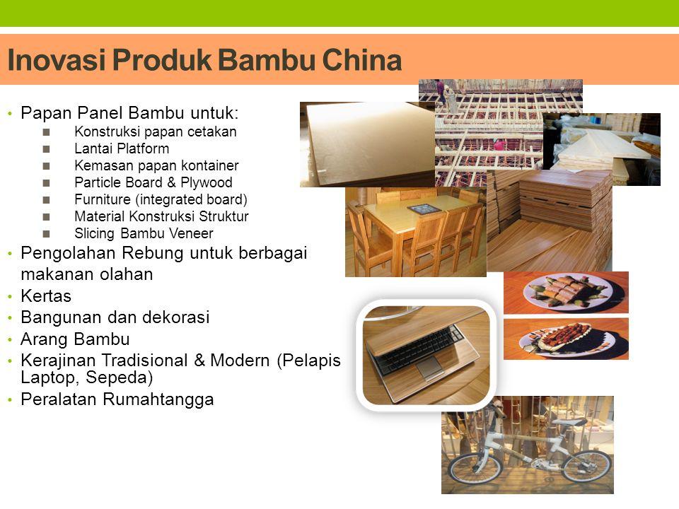 Peran BPKIMI dalam Inovasi Bambu BBIA :  Makanan Berbahan Dasar Bambu (rebung)  Asap Cair dari Bambu (vinegar)  Pembuatan Arang Bambu dan Arang Briket BBPK :  Teknologi Pulp Kertas Serat Pendek untuk Special Papers BBKB :  Pengembangan Kerajinan dan Furniture berbahan Dasar Bambu  Pengembangan Zat Warna Alami dari Bambu