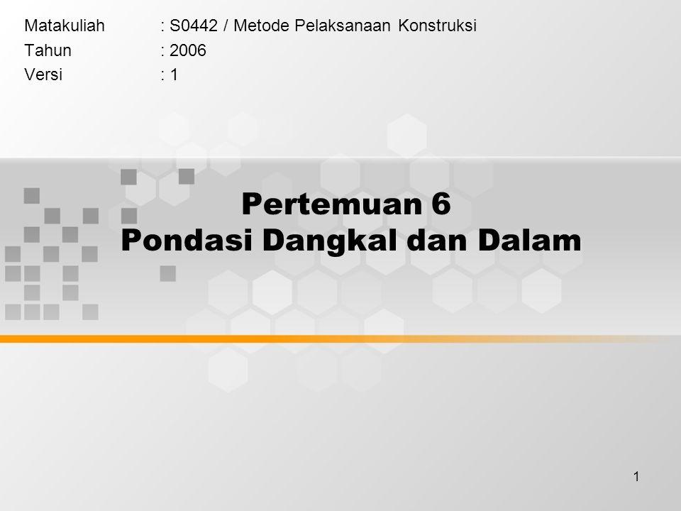 1 Pertemuan 6 Pondasi Dangkal dan Dalam Matakuliah: S0442 / Metode Pelaksanaan Konstruksi Tahun: 2006 Versi: 1