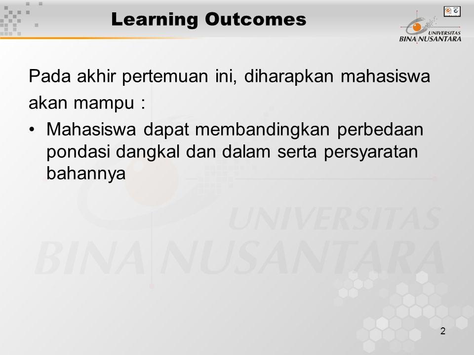 2 Learning Outcomes Pada akhir pertemuan ini, diharapkan mahasiswa akan mampu : Mahasiswa dapat membandingkan perbedaan pondasi dangkal dan dalam sert