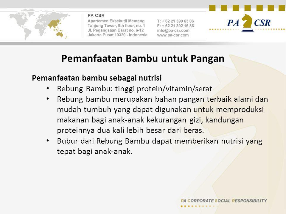 Pemanfaatan Bambu untuk Pangan Pemanfaatan bambu sebagai nutrisi Rebung Bambu: tinggi protein/vitamin/serat Rebung bambu merupakan bahan pangan terbai