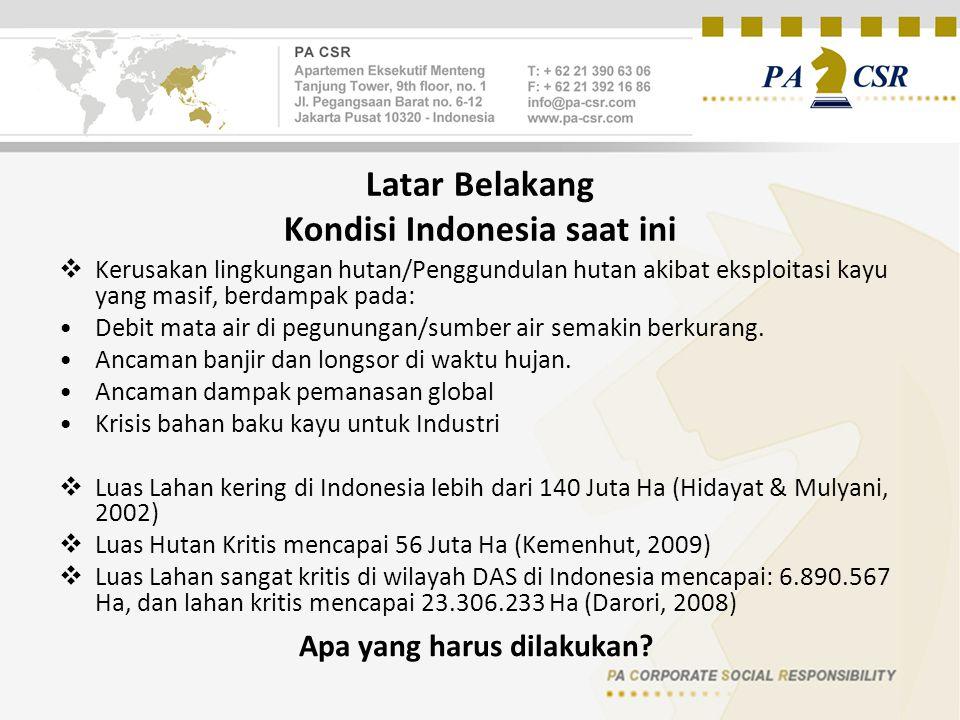 Latar Belakang Kondisi Indonesia saat ini  Kerusakan lingkungan hutan/Penggundulan hutan akibat eksploitasi kayu yang masif, berdampak pada: Debit mata air di pegunungan/sumber air semakin berkurang.