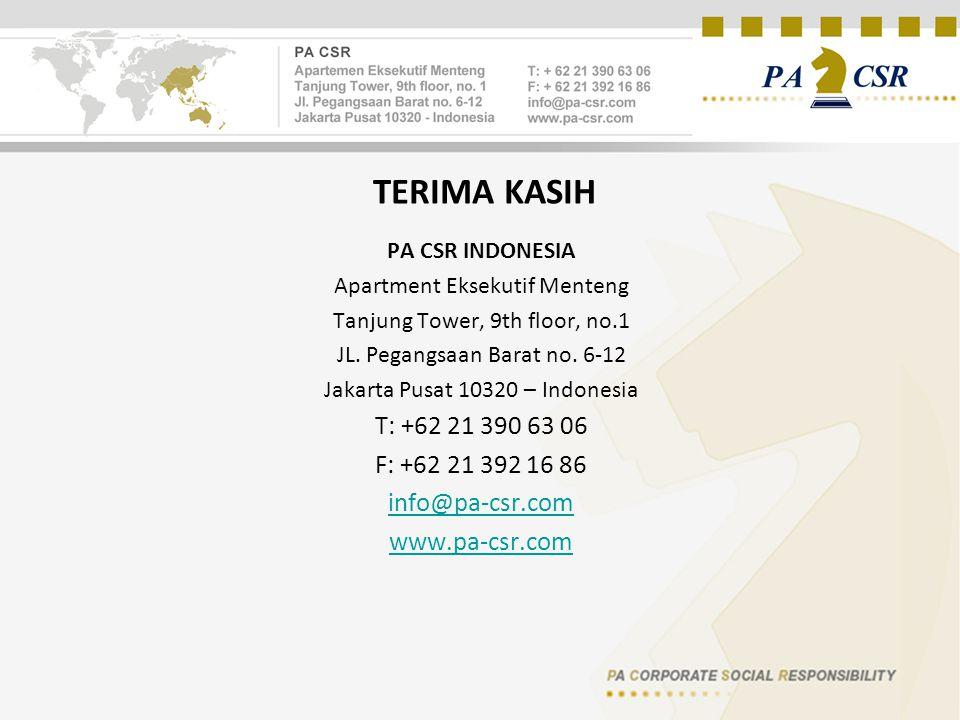 TERIMA KASIH PA CSR INDONESIA Apartment Eksekutif Menteng Tanjung Tower, 9th floor, no.1 JL. Pegangsaan Barat no. 6-12 Jakarta Pusat 10320 – Indonesia