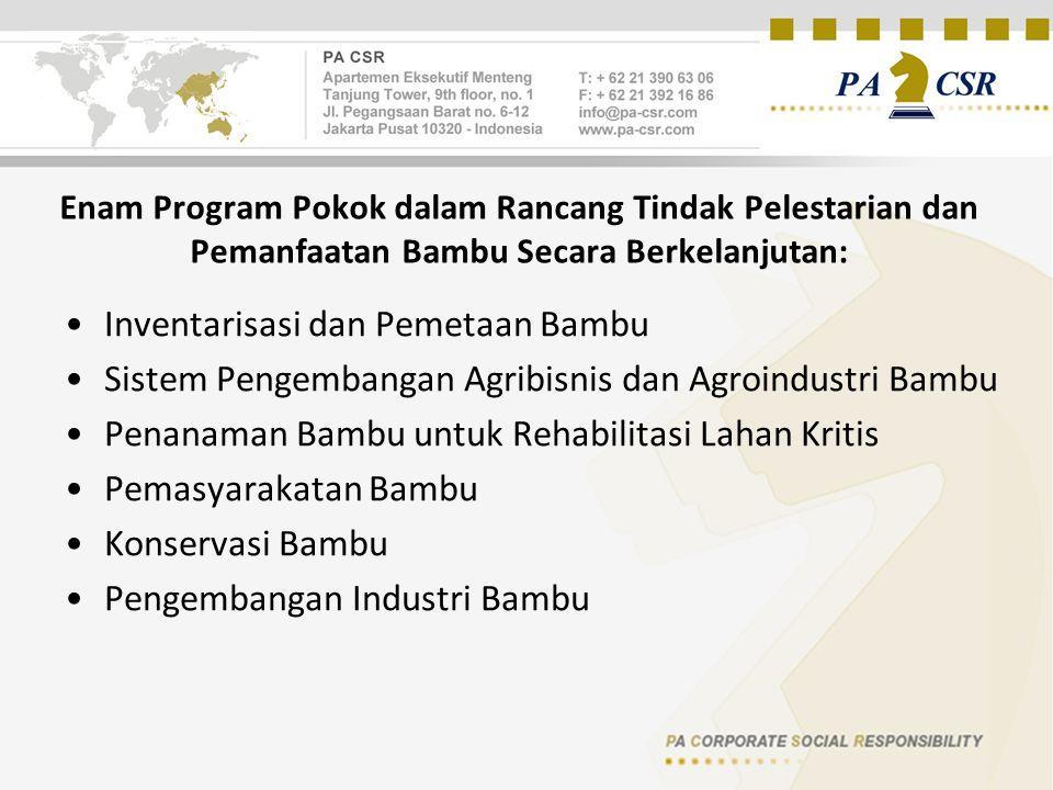 Enam Program Pokok dalam Rancang Tindak Pelestarian dan Pemanfaatan Bambu Secara Berkelanjutan: Inventarisasi dan Pemetaan Bambu Sistem Pengembangan Agribisnis dan Agroindustri Bambu Penanaman Bambu untuk Rehabilitasi Lahan Kritis Pemasyarakatan Bambu Konservasi Bambu Pengembangan Industri Bambu