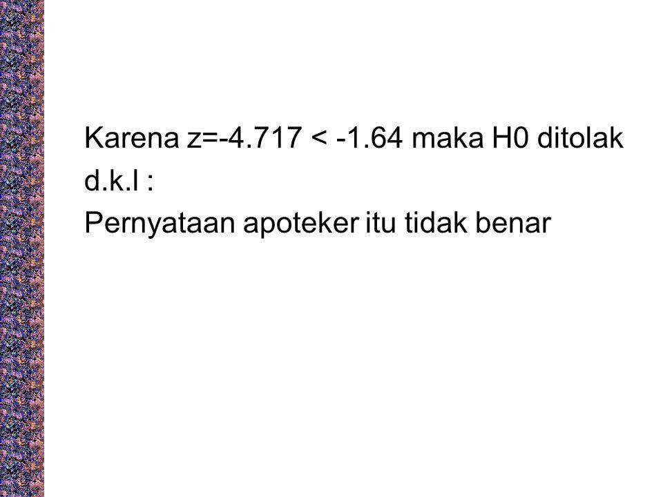 Karena z=-4.717 < -1.64 maka H0 ditolak d.k.l : Pernyataan apoteker itu tidak benar