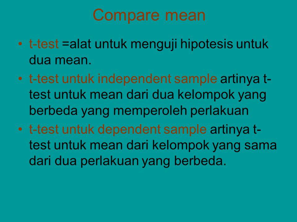 Compare mean t-test =alat untuk menguji hipotesis untuk dua mean. t-test untuk independent sample artinya t- test untuk mean dari dua kelompok yang be