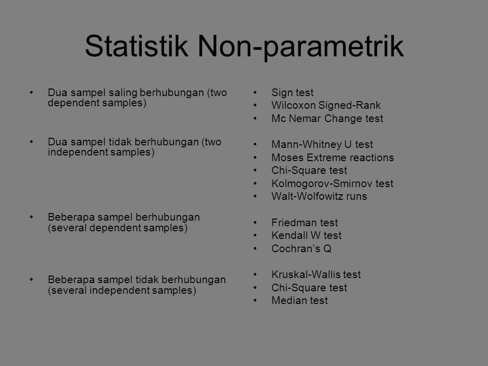 Statistik Non-parametrik Dua sampel saling berhubungan (two dependent samples) Dua sampel tidak berhubungan (two independent samples) Beberapa sampel