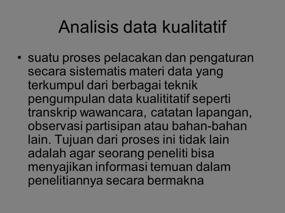 Analisis data kualitatif suatu proses pelacakan dan pengaturan secara sistematis materi data yang terkumpul dari berbagai teknik pengumpulan data kual