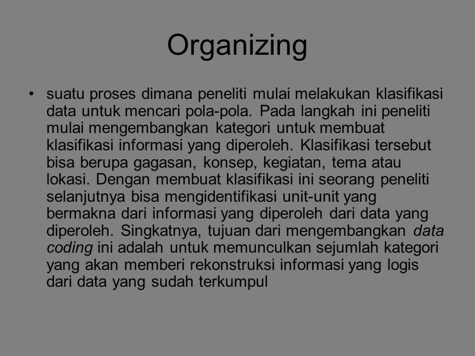 Organizing suatu proses dimana peneliti mulai melakukan klasifikasi data untuk mencari pola-pola. Pada langkah ini peneliti mulai mengembangkan katego