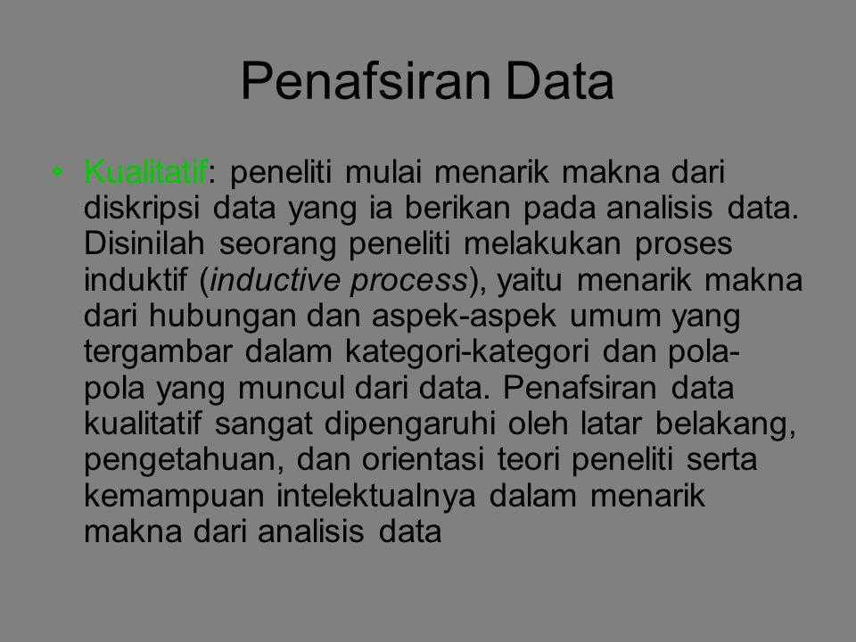 Penafsiran Data Kualitatif: peneliti mulai menarik makna dari diskripsi data yang ia berikan pada analisis data. Disinilah seorang peneliti melakukan
