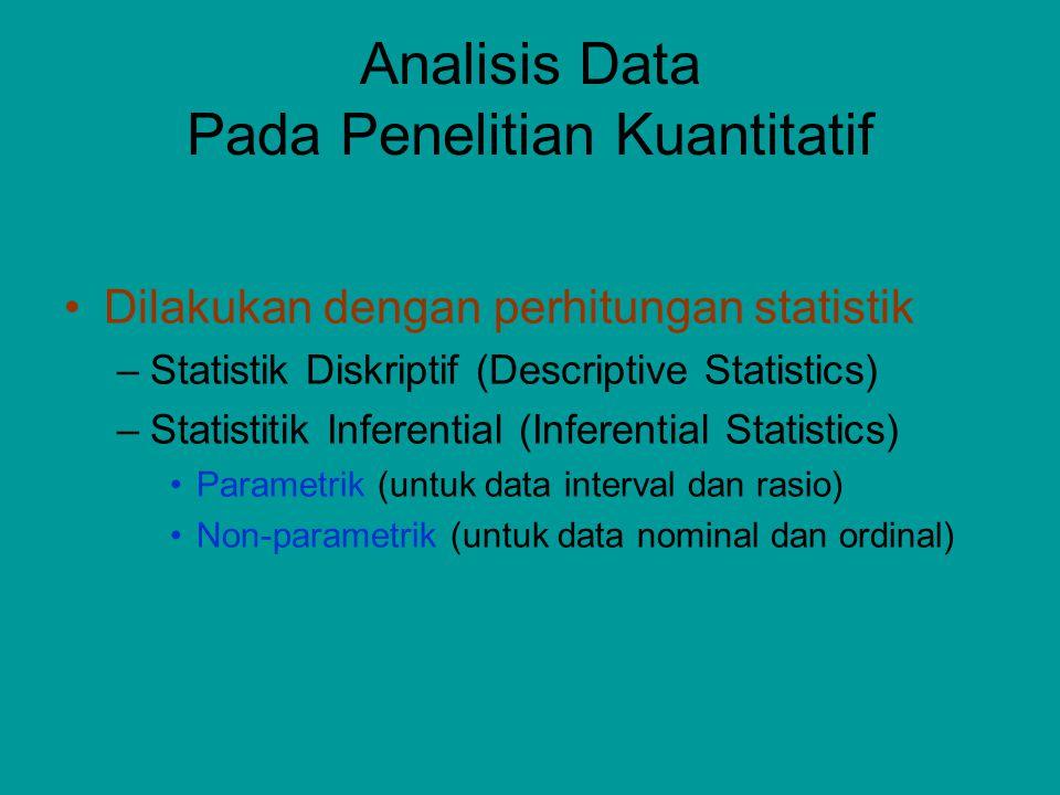 Analisis Data Pada Penelitian Kuantitatif Dilakukan dengan perhitungan statistik –Statistik Diskriptif (Descriptive Statistics) –Statistitik Inferenti