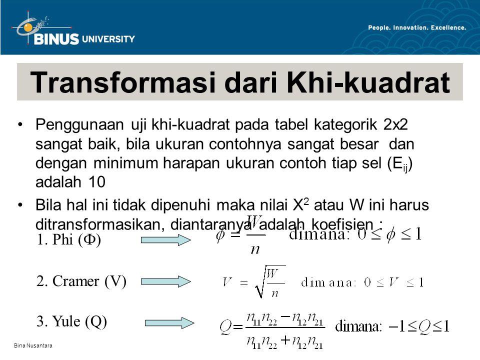 Bina Nusantara Transformasi dari Khi-kuadrat Penggunaan uji khi-kuadrat pada tabel kategorik 2x2 sangat baik, bila ukuran contohnya sangat besar dan dengan minimum harapan ukuran contoh tiap sel (E ij ) adalah 10 Bila hal ini tidak dipenuhi maka nilai X 2 atau W ini harus ditransformasikan, diantaranya adalah koefisien : 1.