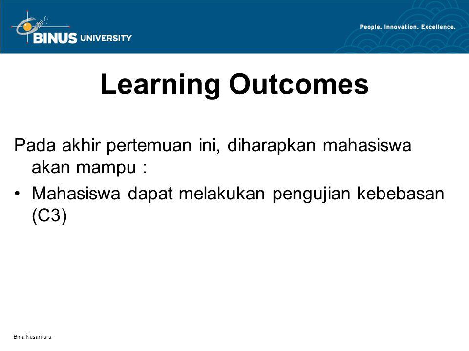 Bina Nusantara Learning Outcomes Pada akhir pertemuan ini, diharapkan mahasiswa akan mampu : Mahasiswa dapat melakukan pengujian kebebasan (C3)