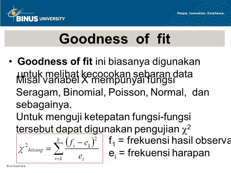 Bina Nusantara Goodness of fit Goodness of fit ini biasanya digunakan untuk melihat kecocokan sebaran data Misal variabel X mempunyai fungsi Seragam, Binomial, Poisson, Normal, dan sebagainya.