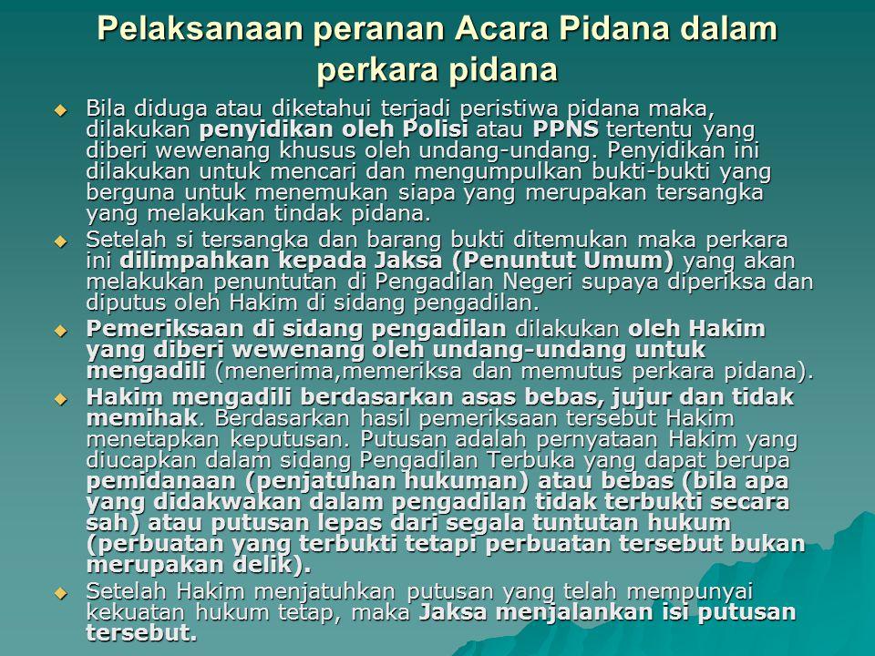 Pelaksanaan peranan Acara Pidana dalam perkara pidana  Bila diduga atau diketahui terjadi peristiwa pidana maka, dilakukan penyidikan oleh Polisi ata