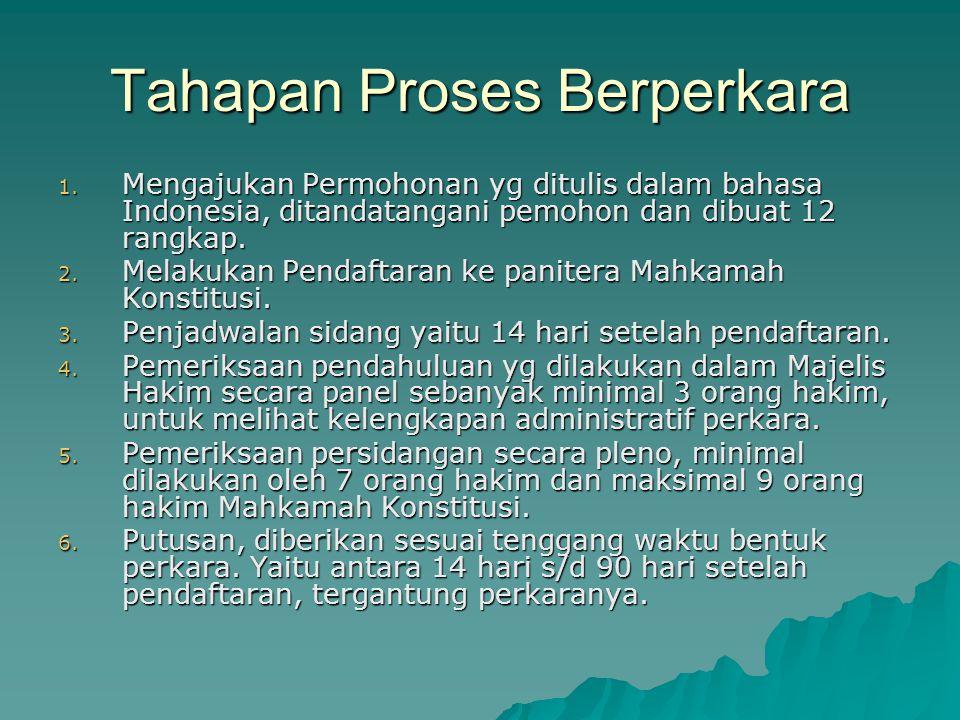 Tahapan Proses Berperkara 1. Mengajukan Permohonan yg ditulis dalam bahasa Indonesia, ditandatangani pemohon dan dibuat 12 rangkap. 2. Melakukan Penda