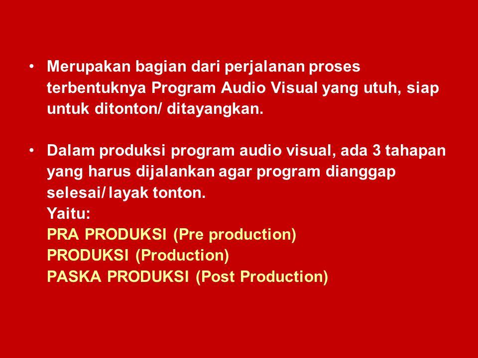 Merupakan bagian dari perjalanan proses terbentuknya Program Audio Visual yang utuh, siap untuk ditonton/ ditayangkan. Dalam produksi program audio vi